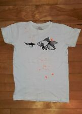 Jcrew Crewcuts boys ivory shark & fish lightweight short sleeve shirt, 10