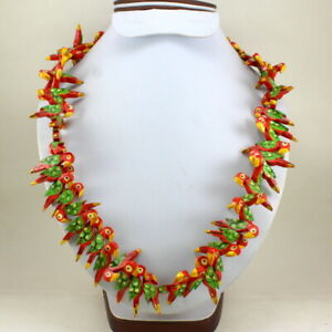 Necklace Wooden Red Parrot Beaded Antique Handmade Fashion Fine Jewelry