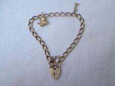 Vintage Solid 9ct Gold Padlock Charm Bracelet.