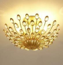 LED Crystal Ceiling Lamp Gold Metal Light Chandelier dining room Flush Lighting