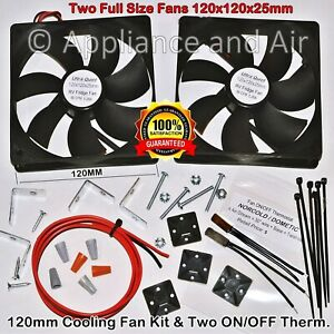2 RV DOMETIC Norcold add on cooling Fan +ON/OFF Thermostat +Wiring, SHIPS TODAY!