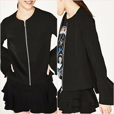 SALE Black Light Thin Flowing Frilled Crepe Blazer Jacket Size M UK 10 US 6