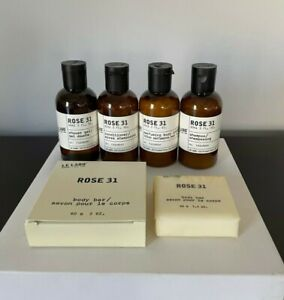 NEW Le Labo Rose 31 *LARGE* Travel 6 Pc Shampoo, Conditioner, Lotion, Gel, Soaps