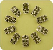 2 Hole Beads Marcasite Tablets Olivine Swarovski Crystal Elements Sliders QTY 10
