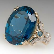 6Ct Oval London Blue Topaz Simulnt Diamond Statement Ring Yellow Gold Fns Silver