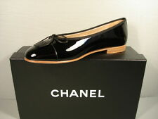 "CHANEL 40/9.5 black patent leather ballerina flats cap round toe ""CC"" NEW shoes"