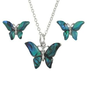 Butterfly Necklace & Earrings Set Paua Abalone Shell - Gift Boxed