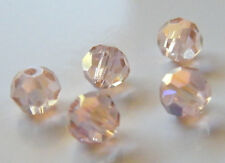 100pcs 6mm Faceted Round Crystal Beads - Pale Pink AB