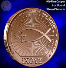 """Ichthus"" John 3:16 1 oz .999 Copper Round A Beautiful Design"