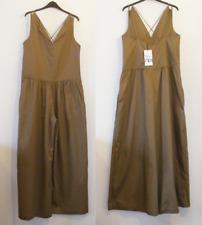 New Zara Wide Leg Cotton Poplin Jumpsuit Size 12 14 M Loose Fit Dark Tan