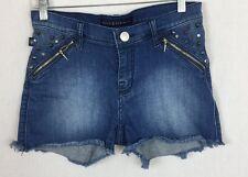 Rock & Republic 6 Distress Stretch Studded Rhinestone Cut Up Denim Jean Shorts e