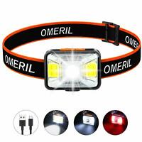 LED Head Torch, OMERIL USB Rechargeable Headlamp, Super Bright 200 Lumens