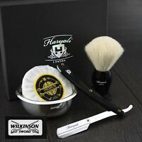 White Badger Hair Brush,Straight Cut Throat Razor,Shaving Soap &Bowl +Blades
