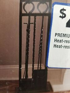 Style Selections Antique Iron Twist 4 Piece Fire Place Tool Set New