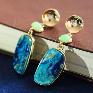 Women Elegant Blue Fire Opal Earrings Yellow Gold Plated Wedding Drop Jewelry
