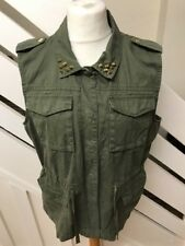 River Island Womens Khaki Green Long Studded Waistcoat Jacket Size 16 UK