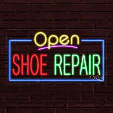 "Brand New ""Open Shoe Repair"" w/Border 37x20X1 Inch Led Flex Indoor Sign 35568"