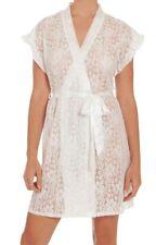 NEW 3X Secret Treasures Lace & Satin Tie Robe Lingerie Ivory Womens Plus 22W-24W