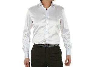Mens 100% Mulberry Silk Dress Shirt Business Long Sleeve Spread Collar Tops