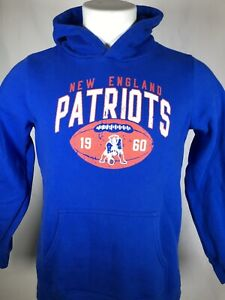 New England Patriots Fanatics Throwback Logo Blue Pullover Hoodie Youth LARGE
