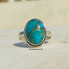Turquoise Ring Blue Copper 925 Sterling Silver Ring Handmade Ring Jewelry - H89