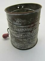 """Vintage Bromwells 3 Cups Measuring Sifter Red Wood Handle 4.25"""" Diameter USA"""