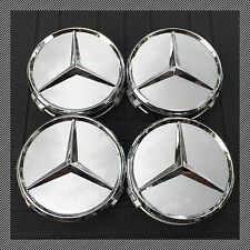 MERCEDES (SET OF 4) 75mm SILVER CHROME STAR WHEEL CENTER CAPS WC4PC500S A1