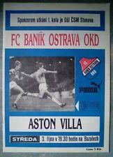 Banik Ostrava v Aston Villa UEFA Cup 1990 Football Matchday Programme