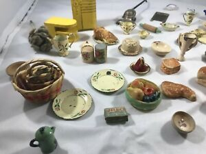 1930's 1940's Dollhouse Miniatures assortment dishes kitchenware food