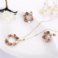EG_ Fashion Colorful Rhinestone Necklace Ear Studs Earrings Women Jewelry _GG