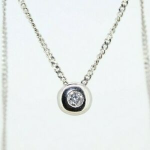 18ct White Gold 0.10ct Floating Solitaire Diamond Necklace (18 Inches)