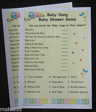 BABY SONG BABY SHOWER GAME 20 CARDS INCLUDED OWLS DESIGN
