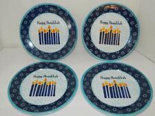 "Happy Hanukkah 8"" Ceramic Plates Dish Tableware Star of David Candles Lot/4 Set"