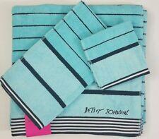 3 PC Betsey Johnson XL Towels Blue Pirate Stripe ~ Bath Towel Hand Washcloth