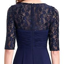 Retro Womens Pretty Half Sleeve Lace Chiffon Evening Prom Party Long Dress 4-18