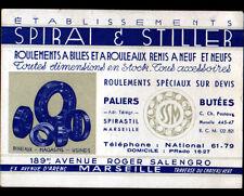 """MARSEILLE (13) USINE de ROULEMENTS à BILLES """"SPIRAI & STILLER"""" Carte de visite"""