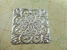 15 Silver Plated 40mm Square Filigrees Component Findings 40750