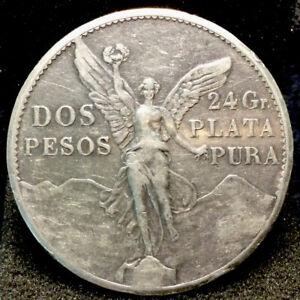 Large World Silver Coin - 1921 Mexico 2 Pesos #337