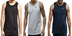 Nike Swoosh Mens Black Grey Blue Vest Retro Sports Gym Sleeveless Athletic Tank