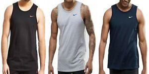 Nike Swoosh Mens Black Grey Blue Vest Retro Sports Gym Sleeveless Athletic Tank
