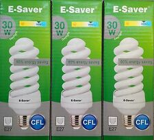 3x E-Saver, Energy Saving CFL Light Bulbs, Spiral, 30w, Daylight, E27 Screw