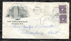 p144 - HALIFAX 1944 Blackout Slogan on Cover to Tillsonburg. 8c Postage Due