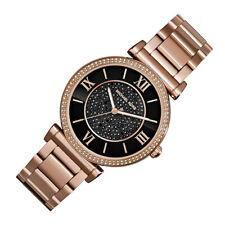 100% New Michael Kors Caitlin Black Women Rose Gold Pave Crystal Watch MK3356