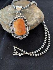 Native American Sterling Silver Navajo Pearls Orange Spiny Oyster Pendant 773