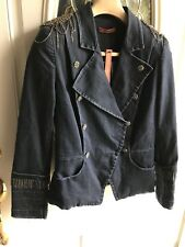 Rare Alice & Olivia Denim Jacket Embellished Sequins Chains NWT $495