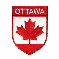 OTTAWA CANADA RED MAPLE LEAF SHIELD IRON-ON PATCH CREST BADGE .. NEW