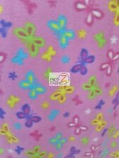 BUTTERFLIES IN HARMONY PINK FLEECE PRINTED FABRIC FH-286 BY THE YARD BLANKET