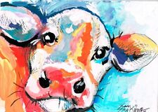 Original ACEO mixed media painting of a cow.
