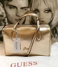 BNWT Guess Box Bag, Gold 100% Genuine Includes A Dust Bag)