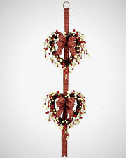 """Double Heart Country Berries Twig Wreath Gingham Ribbon Bows 40"""" Door Wall Decor"""